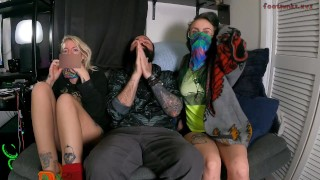 Three Some XXX :AVNfootpunkzxyz  Two Tattooed Babes Give a Foot Smothering Footjob with a Huge Cumshot