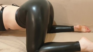 Bit Tits XXX :Sexy babe teasing in shiny leather touching herself