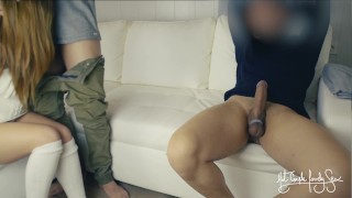 Three Some XXX :Cuckold threesome Tied husband eats best friend039s cum from wife039s pussy